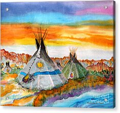 Wind River Encampment Silk Painting Acrylic Print by Anderson R Moore