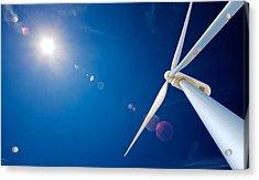 Wind Turbine And Sun  Acrylic Print by Johan Swanepoel
