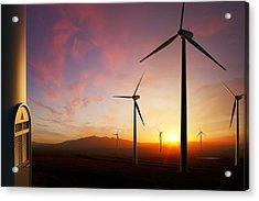 Wind Turbines At Sunset Acrylic Print by Johan Swanepoel