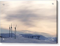 Wind Turbines In Winter Acrylic Print by Bernard Jaubert