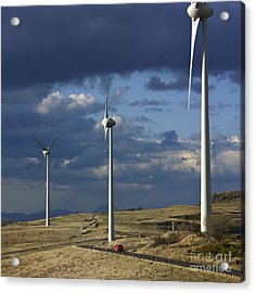 Wind Turbines. Region Auvergne. France Acrylic Print by Bernard Jaubert