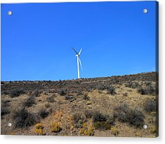 Windmill In The Desert Acrylic Print by Kay Gilley