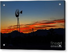 Windmill Silhouette Acrylic Print by Robert Bales