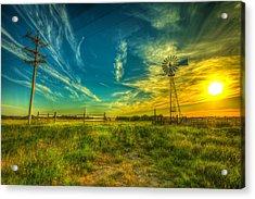 Windmill Sunset Acrylic Print by  Caleb McGinn