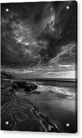 Windnsea Stormy Sky Bw Acrylic Print by Peter Tellone