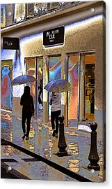 Window Shopping In The Rain Acrylic Print by Ben and Raisa Gertsberg