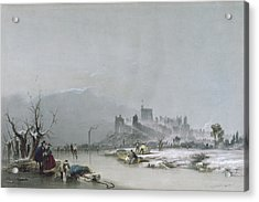 Windsor Castle From The Thames, 19th Century Acrylic Print by James Baker Pyne
