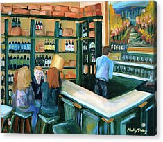 Wine Bar Rendezvous Acrylic Print by Mandy Stohry
