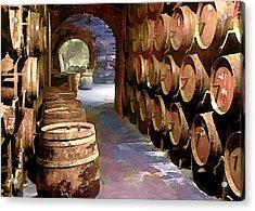 Wine Barrels In The Wine Cellar Acrylic Print by Elaine Plesser