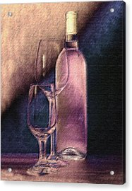 Wine Bottle With Glasses Acrylic Print by Tom Mc Nemar