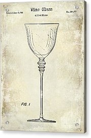 Wine Glass Patent Drawing Acrylic Print by Jon Neidert