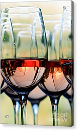 Wine Glasses Filled With Mount Hood Acrylic Print by Cari Gesch