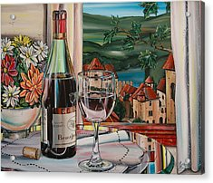 Wine With River View Acrylic Print by Anthony Mezza