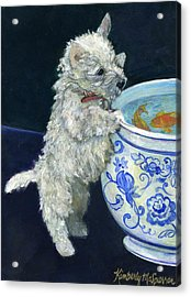 Winnie The Koi Watcher Acrylic Print by Kimberly McSparran