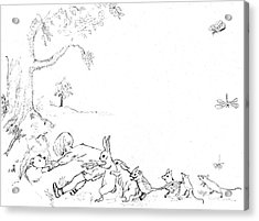 Winnie The Pooh And Crew In Pen  And Ink After E H Shepard Acrylic Print by Maria Hunt