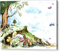 Helping Hands After E H Shepard Acrylic Print by Maria Hunt