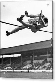 Winning High Jumper Acrylic Print by Underwood Archives