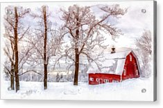 Winter Arrives Watercolor Acrylic Print by Edward Fielding