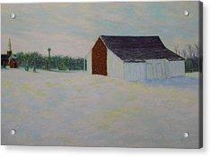 Winter At Mcphersons Barn Gettysburg Acrylic Print by Joann Renner