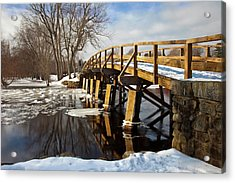 Winter At The Historic Old North Bridge Acrylic Print by Brian Jannsen