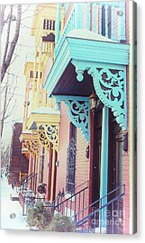 Winter Balconies In Montreal Acrylic Print by Jane Rix