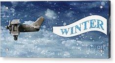 Winter Banner Acrylic Print by Amanda Elwell