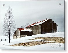 Winter Barn Acrylic Print by Michael Swanson