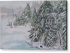Winter Chill St Lawrence River Acrylic Print by Robert P Hedden