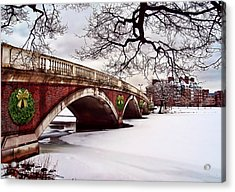 Winter Christmas On The Charles River Boston Acrylic Print by Elaine Plesser