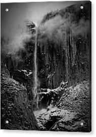 Winter Day Upper Yosemite Falls Ca Acrylic Print by Troy Montemayor