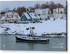 Winter In Perkins Cove Acrylic Print by Joe Faragalli