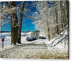 Winter In Vermont Acrylic Print by Edward Fielding