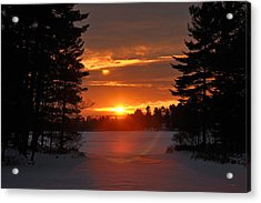 Winter Lake Sunset Acrylic Print by RJ Martens