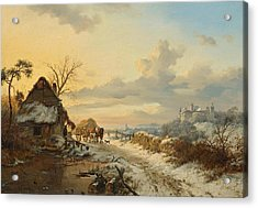 Winter Landscape With Horses And Carts Acrylic Print by Celestial Images