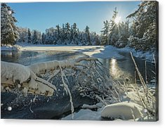 Winter Landscape With Ice On A Lake Acrylic Print by Julie DeRoche