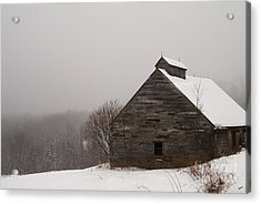Winter Maine Barn Acrylic Print by Alana Ranney