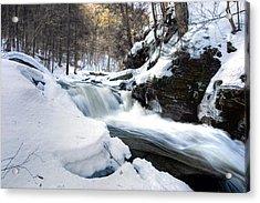 Winter Meltdown Rushing Over Conestoga Falls Acrylic Print by Gene Walls