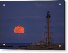Winter Moon Rising Over Marblehead Light Acrylic Print by Jeff Folger