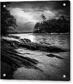 Winter Moonlight Wolfes Neck Woods Maine Acrylic Print by Bob Orsillo
