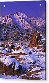 Winter Morning Alabama Hills And Eastern Sierras Acrylic Print by Dave Welling