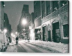 Winter Night - New York City - Lower East Side Acrylic Print by Vivienne Gucwa