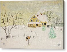 Winter Painting Of House With Mailbox/ Digitally Altered Acrylic Print by Sandra Cunningham