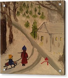Winter Scene 1 Acrylic Print by Angel Griffin