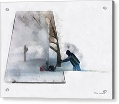 Winter Snow Blower Photo Art Acrylic Print by Thomas Woolworth