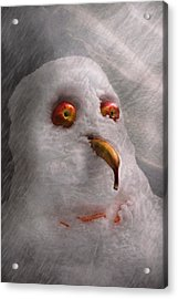 Winter - Snowman - What Are You Looking At Acrylic Print by Mike Savad