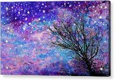 Winter Starry Night Acrylic Print by Ann Powell