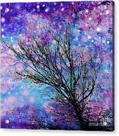 Winter Starry Night Square Acrylic Print by Ann Powell