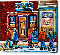 Winter Street In Saint Henri Acrylic Print by Carole Spandau
