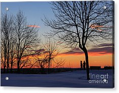 Winter Sunset For Two Acrylic Print by Joe Faragalli