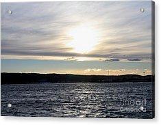 Winter Sunset Over Gardiner's Bay Acrylic Print by John Telfer